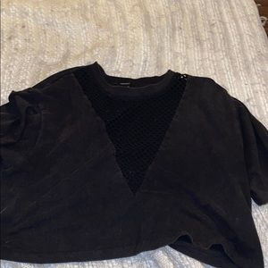 Black short sleeved crop top
